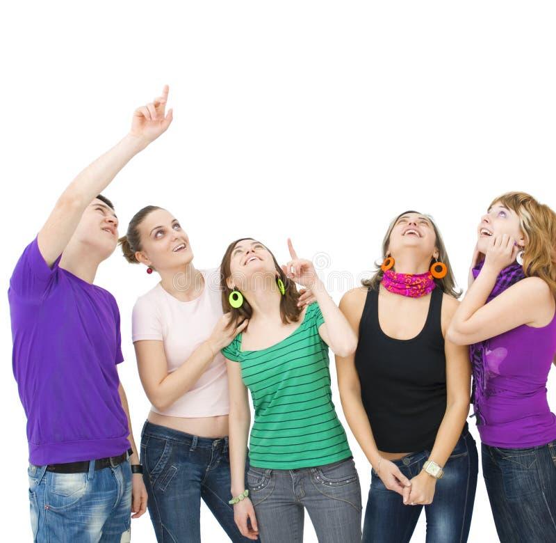 Happy group of teenagers stock photo