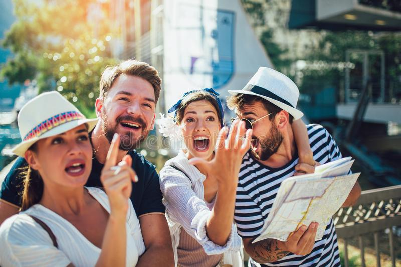 Group of tourists traveling and sightseeing together stock photos