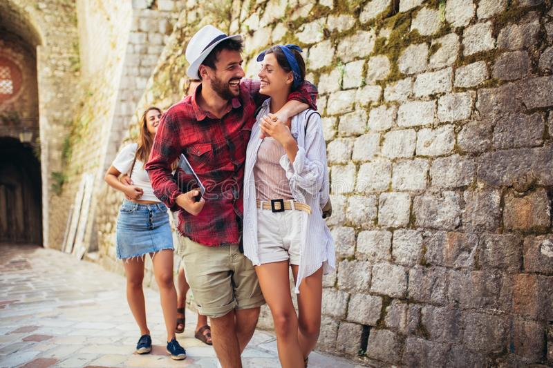 Group of tourists traveling and sightseeing together royalty free stock photos