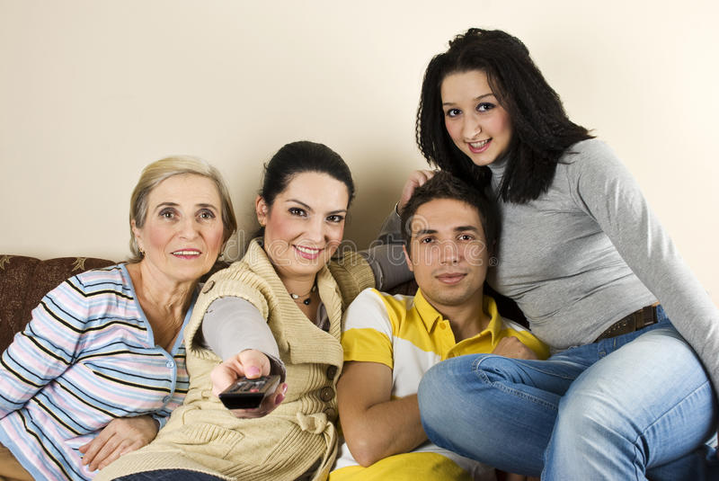Download Happy group watching tv stock image. Image of four, group - 12232513
