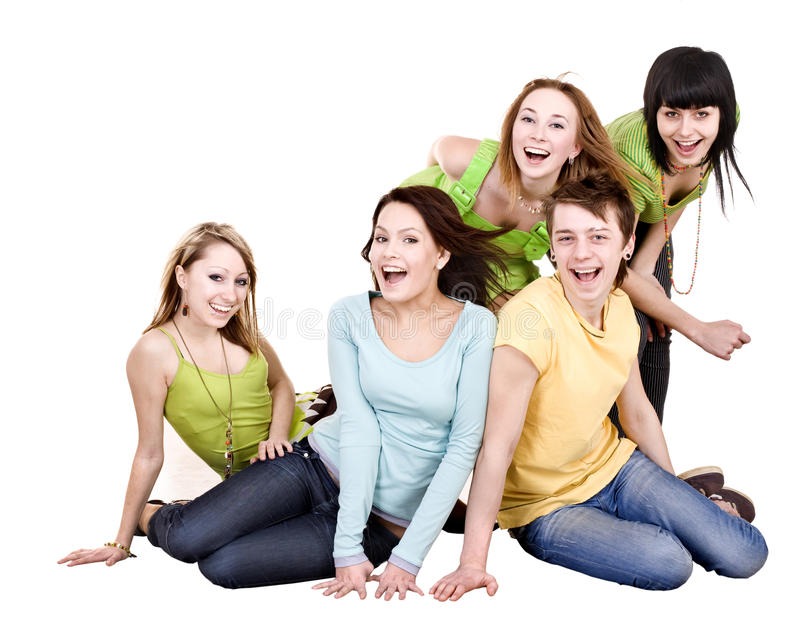 Happy group of young people. royalty free stock photo