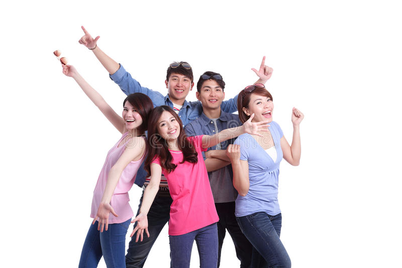Happy group young people stock photo