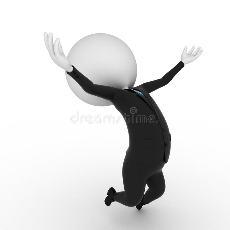 Happy guy. A 3d rendered illustration of a small guy jumping stock illustration