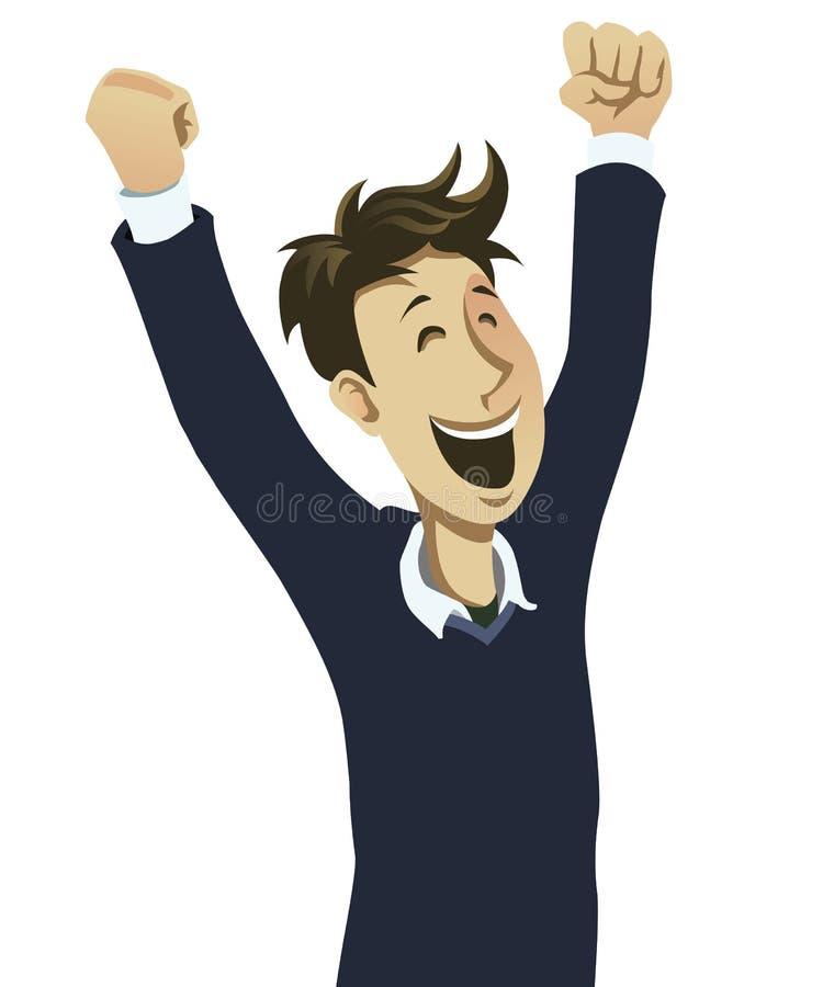 Happy guy cheering stock illustration