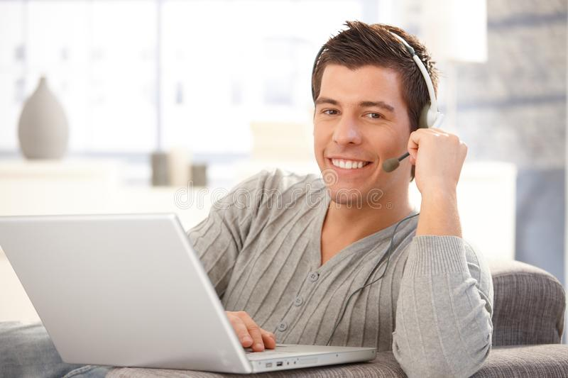 Download Happy guy with headset stock image. Image of chatting - 23609293