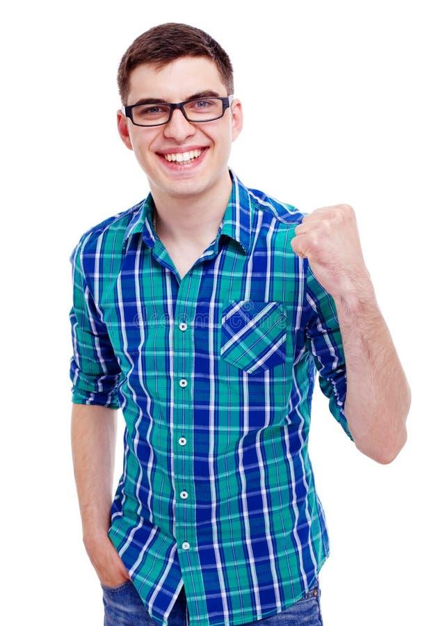 Happy guy with raised fist