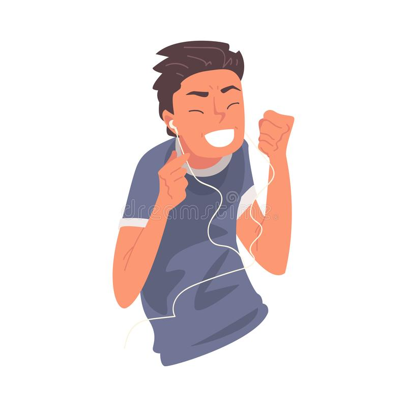 Happy Guy Wearing Earphones Listening to Music and Dancing, Happy Boy Using Smartphone or Audio Player Vector royalty free illustration
