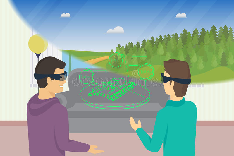 Happy guys is playing video game using head-mounted device for augmented and virtual reality stock illustration