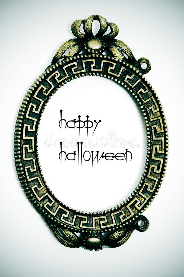 Happy Halloween. Written in an emo frame on a vignetting background royalty free stock images