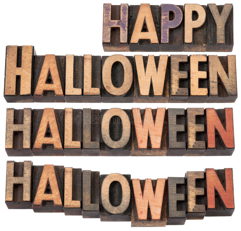 Happy Halloween. Collage of isolated text in vintage letterpress wood type, different layouts stock image