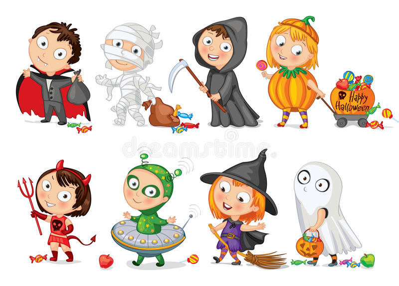 Happy Halloween. Funny little children in colorful costumes. Vector illustration. Icon