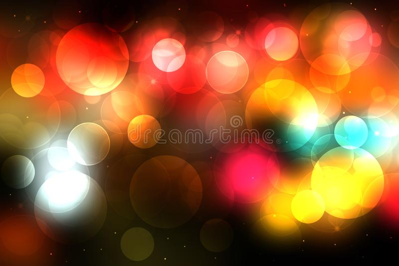 Happy Halloween background. Abstract blurred dark gold gradient yellow on black basics texture with colorful bokeh lights and royalty free illustration