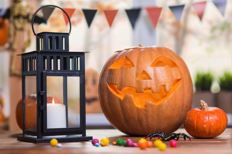 Happy Halloween. Background in front of a window with pumpkins, royalty free stock photos