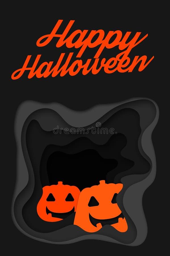 Happy Halloween background with happy pumpkin. stock illustration