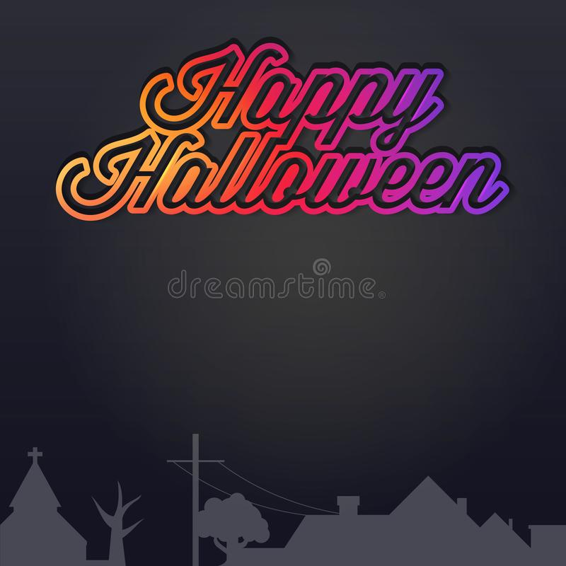 Happy Halloween Background. Night Village Silhouette. Vector Illustration. Bright Gradient Lettering. Church and Dead Tree royalty free illustration