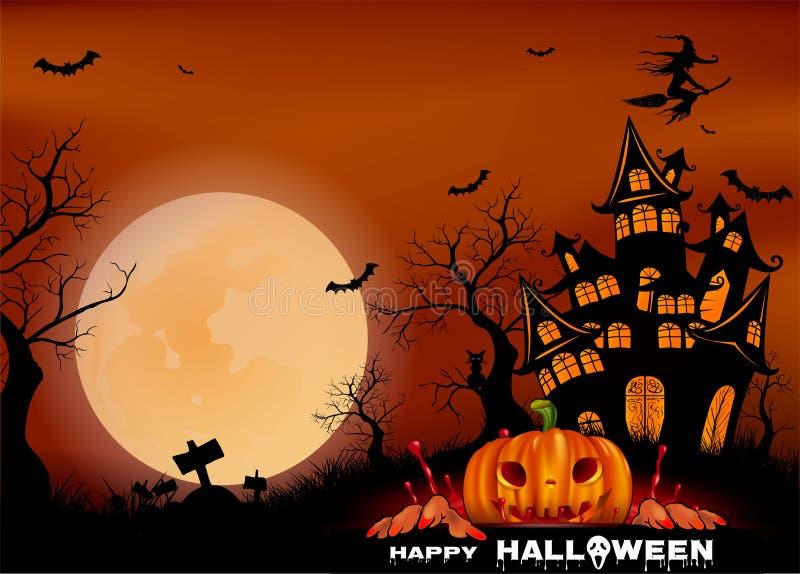 Download Happy Halloween Background With Pumpkin, Full Moon. Halloween Party.  Vector Illustration Stock