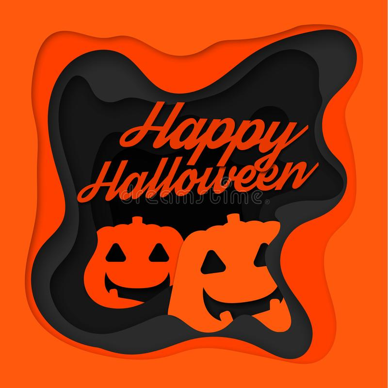 Happy Halloween background with pumpkin. Paper art carving style stock illustration