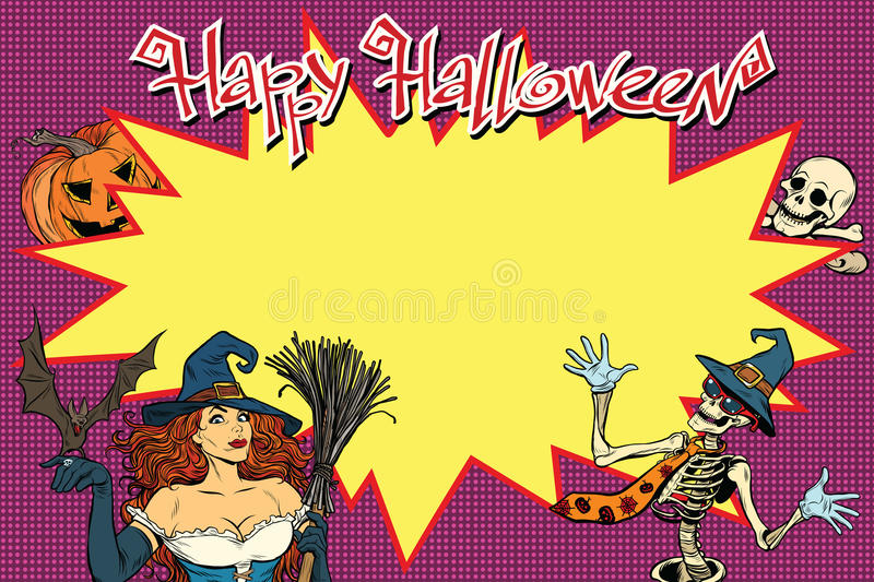 Happy Halloween background with witch, skeleton and pumpkin stock illustration