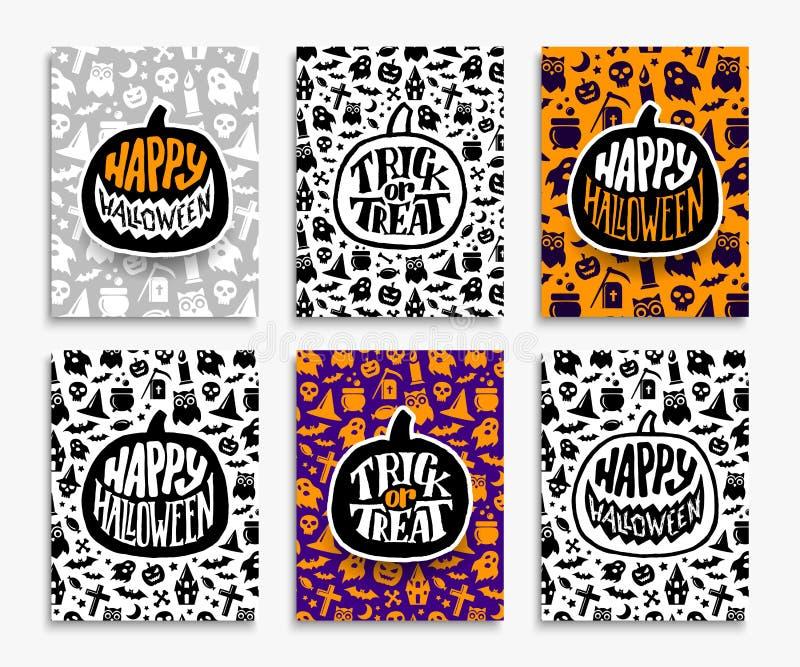 Happy Halloween greeting cards set royalty free illustration