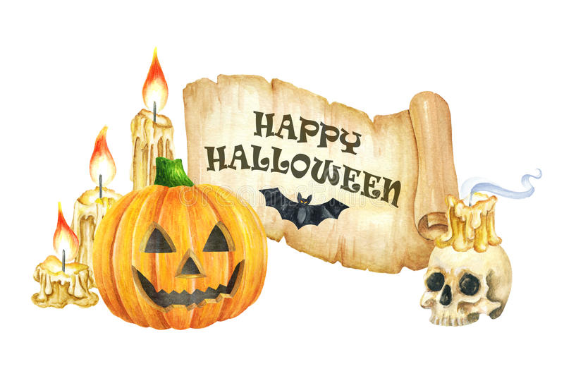 Download Happy Halloween Banner. Funny Pumpkins Smile, Skull, Scroll And  Candle. Watercolor