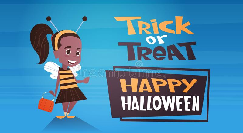 Happy Halloween Banner Holiday Decoration Horror Party Greeting Card Cute Cartoon Bee Trick Or Treat stock illustration