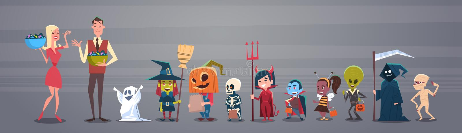Happy Halloween Banner Holiday Decoration Horror Party Greeting Card Man And Woman Giving Candy To Cute Cartoon Monsters stock illustration