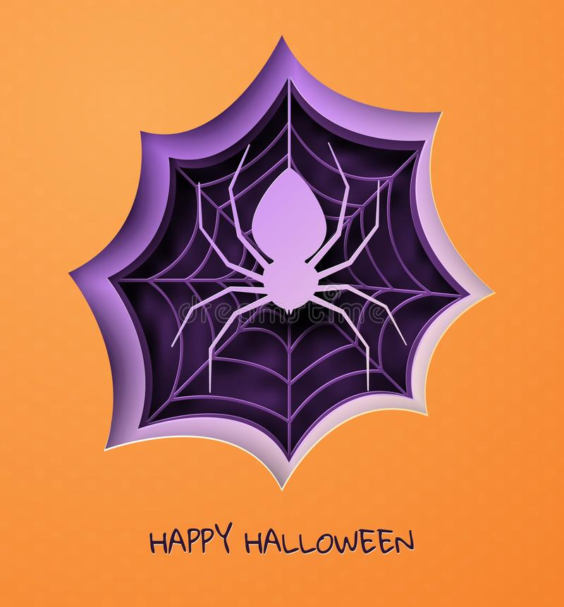 Happy halloween banner in trendy paper cut style. Violet and orange flyer or invitation template with spooky spider and vector illustration