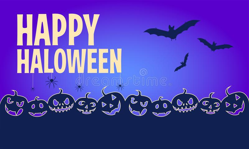 Happy halloween banners. Flat designed background. Vector Illustration. stock illustration