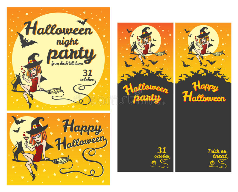 Happy Halloween banners, party invitations, greeting card set vector illustration