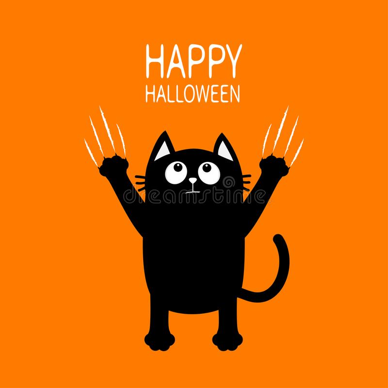 Free Happy Halloween. Black Cat Claw Scratch Glass. Kitten Standing. Cute Cartoon Funny Baby Character. Greeting Card. Scary Surprised Stock Photography - 99660742