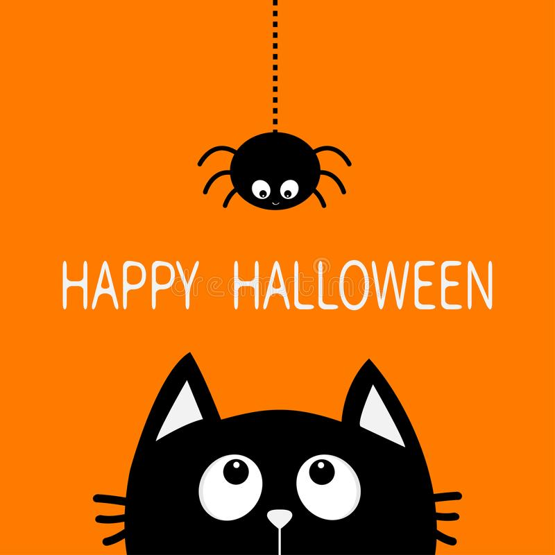 Happy Halloween. Black cat face head silhouette looking up to hanging on dash line web. Spider insect. Cute cartoon character. Baby pet animal collection. Flat vector illustration
