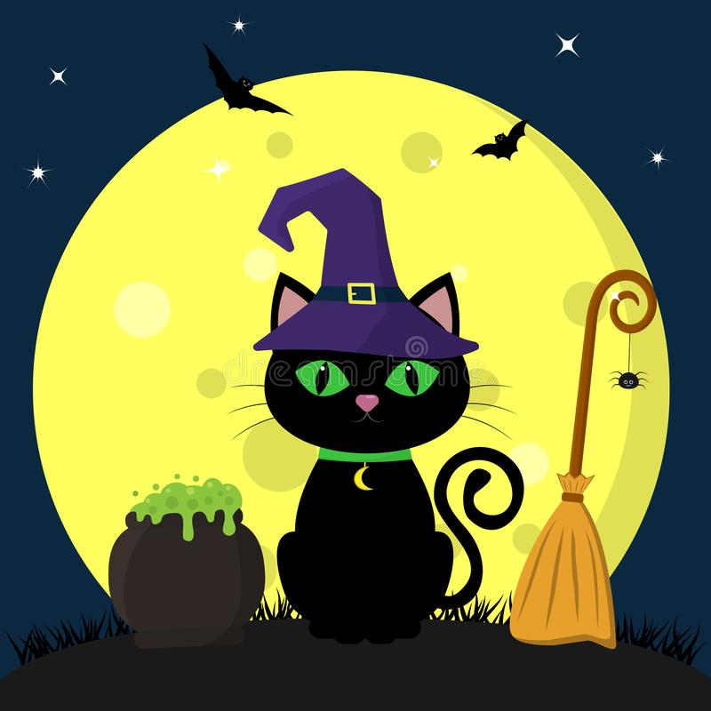 Happy Halloween. A black cat of Halloween in a witch hat sits against a full moon at night. Next pot of potions, broom vector illustration