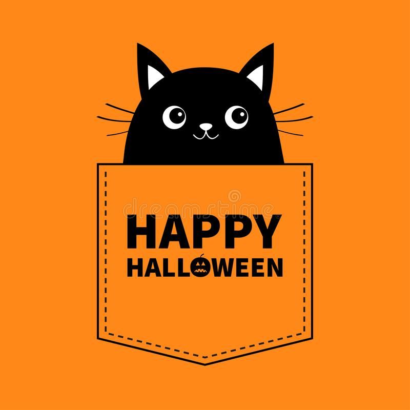 Free Happy Halloween. Black Cat In The Pocket. Cute Cartoon Animals. Kitten Kitty Character. Dash Line. Pet Animal Collection. Orange A Royalty Free Stock Images - 128908059