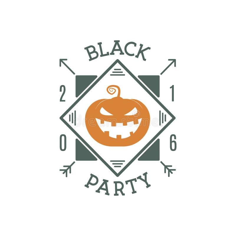 Happy Halloween 2016 black party invitation label. Typography insignia for celebration holiday. Retro badge, logo. vector illustration