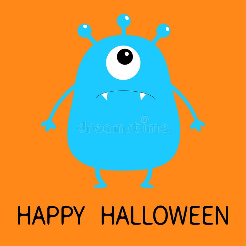 Happy Halloween. Blue monster silhouette. Cute cartoon scary funny character. Baby collection. One big eye, fang tooth, hands. Ora stock illustration