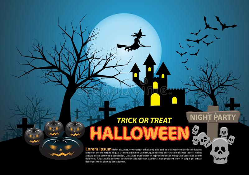 Happy halloween on blue moon light night party holiday celebration festival vector. Illustration royalty free illustration