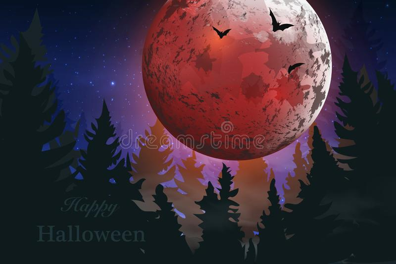 Happy Halloween. Boo. Spooky card for Halloween. night background with full moon, tombstones, bats stock illustration