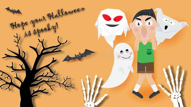 The boy scared of ghosts origami,bats and dry tree vector illustration