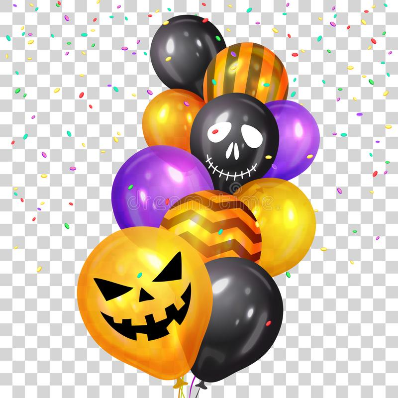 Happy Halloween. Bunch of Halloween ghost balloons and colorful confetti. Flying bunch of shiny Halloween balloons. Holidays, vector illustration