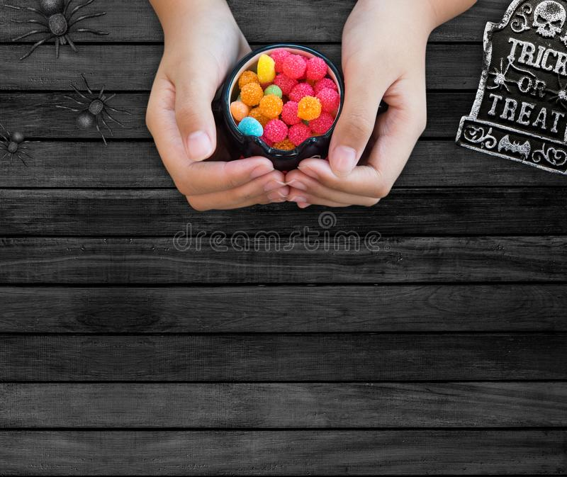 Happy Halloween with candy for kid. Happy Halloween with candy and pumpkin for party. trick or treat at in autumn season royalty free stock photography