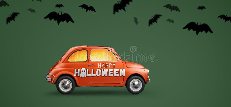 Happy Halloween car vector illustration