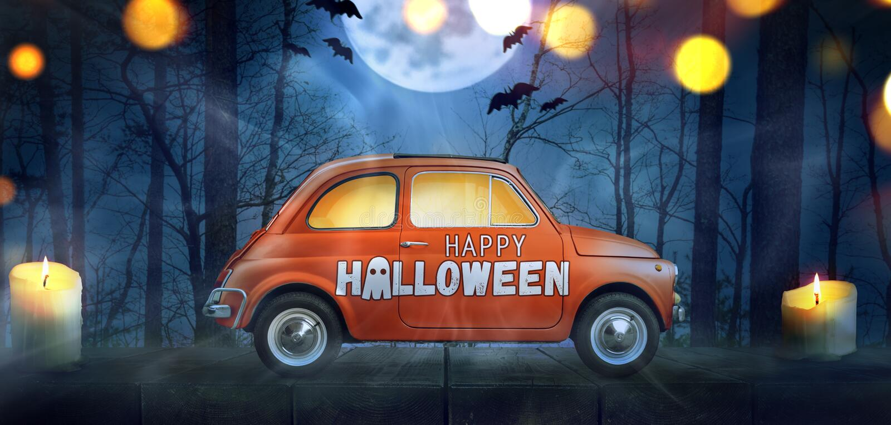 Happy Halloween car stock photo
