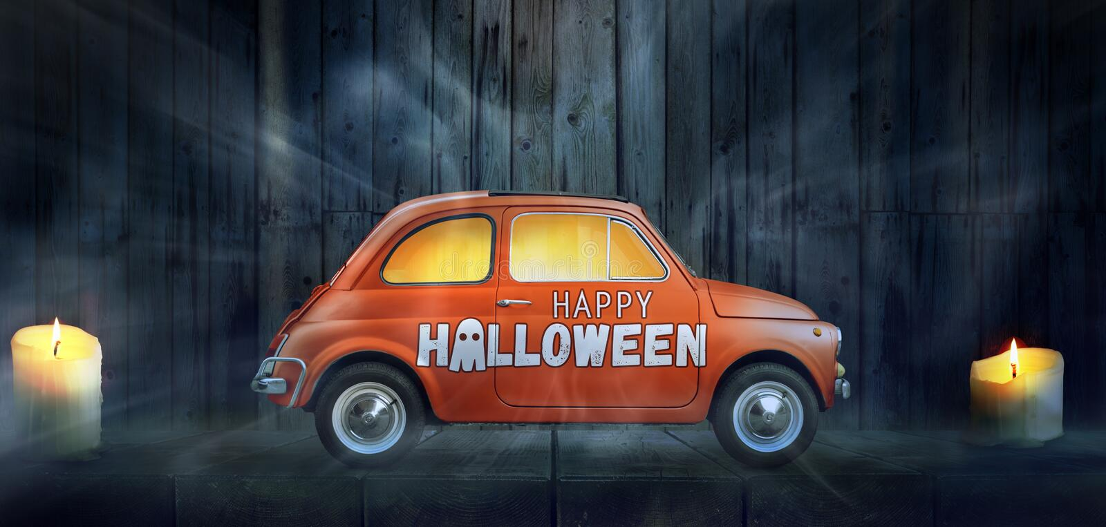 Happy Halloween car. Against night scary room background stock photography