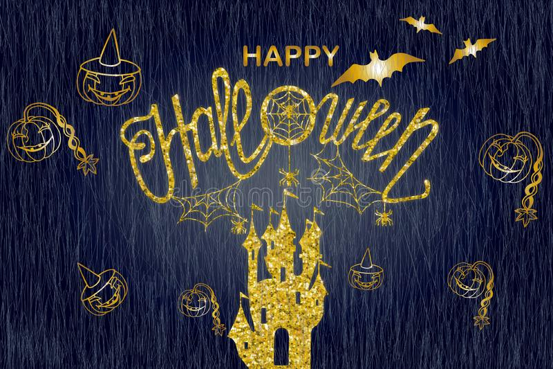 Happy halloween card. Art,background,banner,calligraphy,card,celebration,dark,decoration,decorative,design,drawn,element,font,graphic,greeting,halloween royalty free illustration