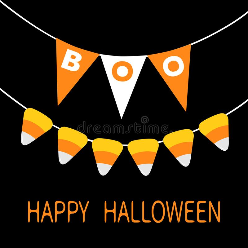 Happy Halloween card. Candy corn. Bunting flags pack Boo letters. Flag garland. Party decoration element. Hanging text on rope thr vector illustration