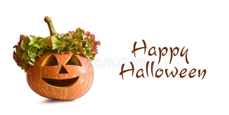 Happy Halloween card with carved pumpkin isolated on white royalty free stock photography