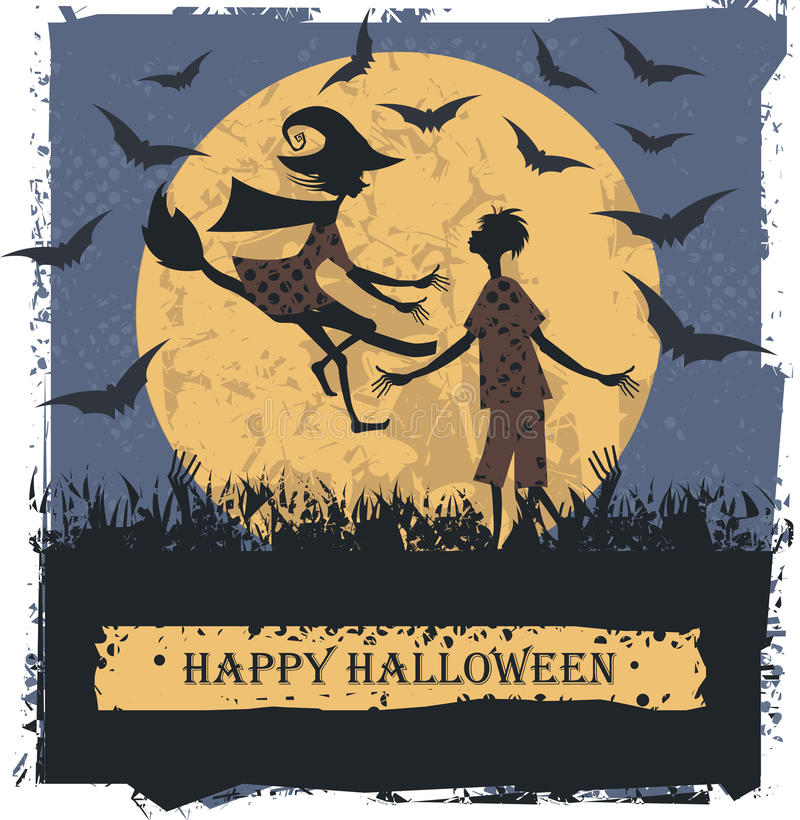 Happy Halloween card with couple lovely silhouettes vector illustration