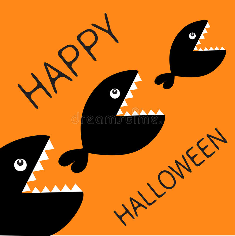Happy Halloween card. Fish monster eating each other. Three fishes. Food chain. Black color silhouette. Cute cartoon character set. Baby kids collection.Orange vector illustration