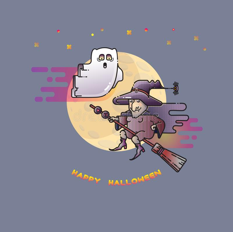 Download Happy Halloween Card With Funny Ghost, Witch And Moon. Stock  Vector   Illustration