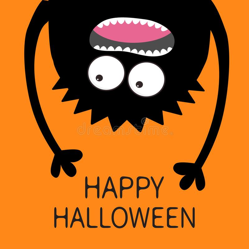 Happy Halloween card. Screaming monster head silhouette. Two eyes, teeth, tongue, hands. Hanging upside down. Black Funny Cute car vector illustration